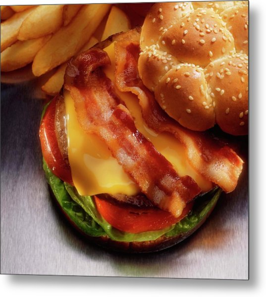 Bacon Cheeseburger With French Fries Metal Print by Jupiterimages