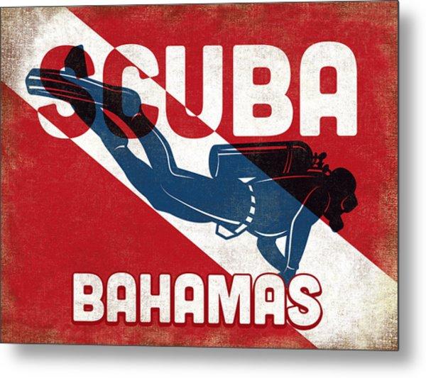 Bahamas Scuba Diver - Blue Retro Metal Print by Flo Karp