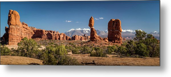 Metal Print featuring the photograph Balanced Rock And The La Sal Mountain Range by David Morefield