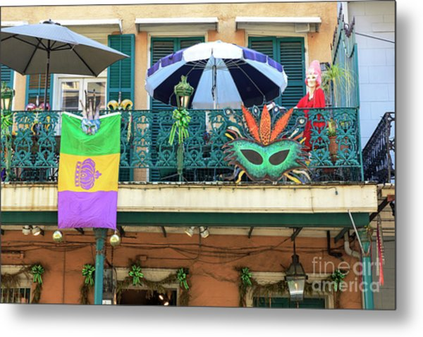 Balcony Party New Orleans Metal Print by John Rizzuto