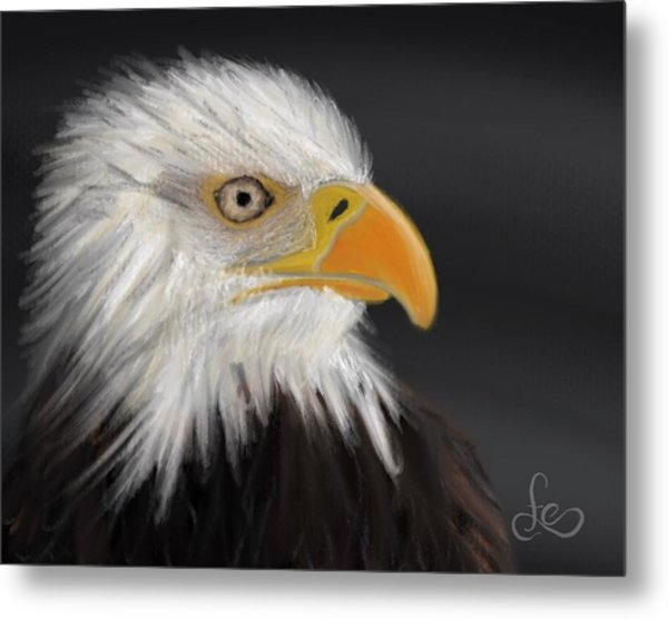 Metal Print featuring the pastel Bald Eagle by Fe Jones