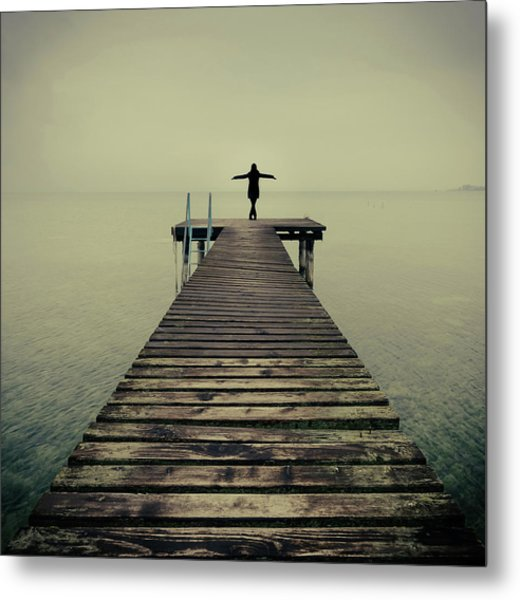 Ballerina Pose At Idyllic Lake At Winter Metal Print