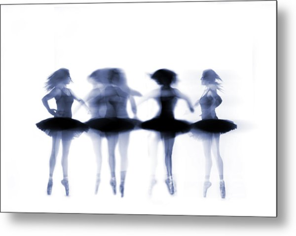 Ballet Dancer Pirouetting On White Metal Print by Phil Payne Photography