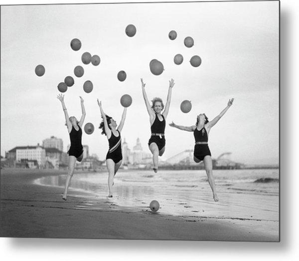 Balloon Dancers On Long Beach Metal Print by Bettmann