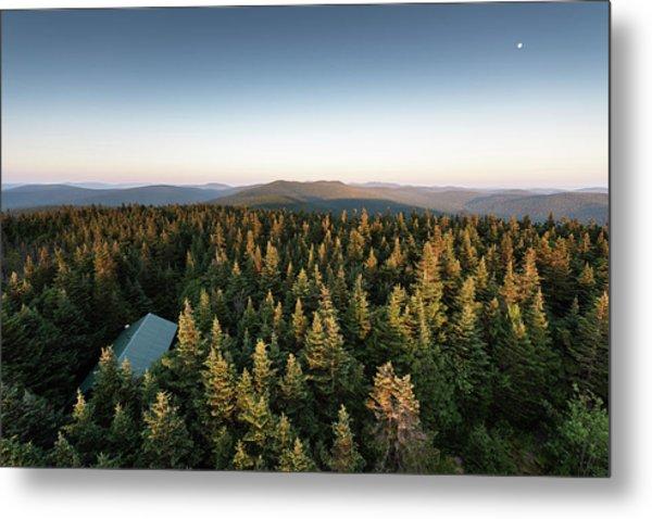 Balsam Lake Mountain Sunset Moon Metal Print