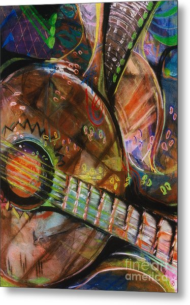 Metal Print featuring the pastel Banjos Jamming by Donna Hall
