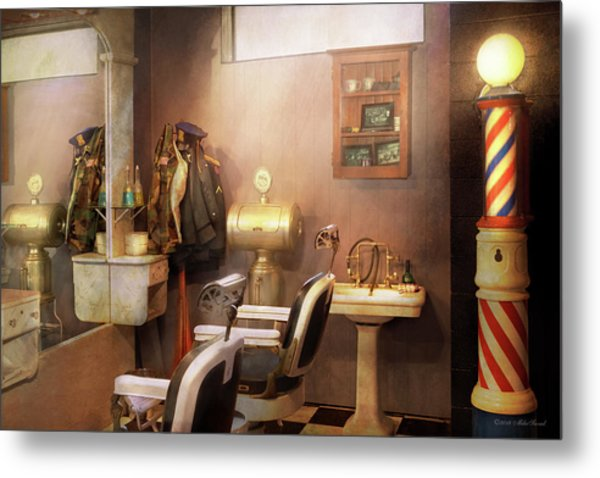Metal Print featuring the photograph Barber - Basement Barber by Mike Savad