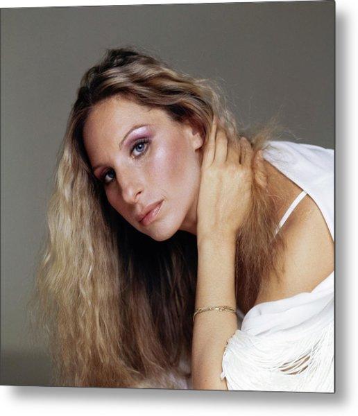 Barbra Streisand In Purple Eyeshadow Metal Print by Francesco Scavullo