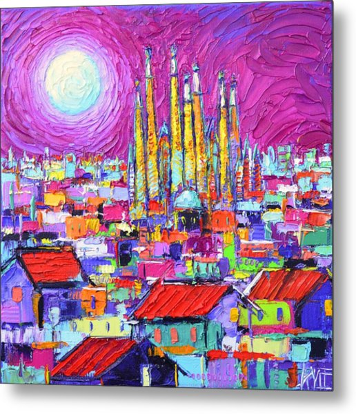 Barcelona Mystic Full Moon Over Sagrada Familia Abstract Cityscape Knife Painting Ana Maria Edulescu Metal Print