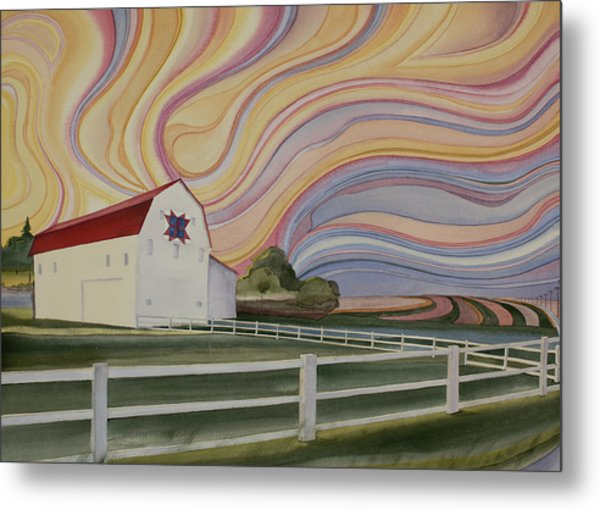 Metal Print featuring the painting Barn On Pretty Prairie by Scott Kirby