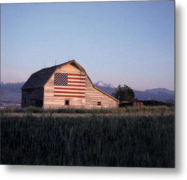 Barn W Us Flag, Co Metal Print by Chris Rogers