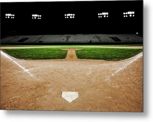 Baseball Diamond At Night Metal Print by Jgareri