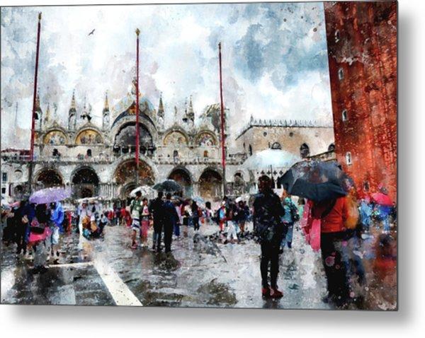 Basilica Of Saint Mark In Venice, Italy - Watercolor Effect Metal Print