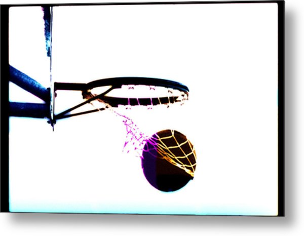 Basketball Going Through Net, Close-up Metal Print by Cyberimage