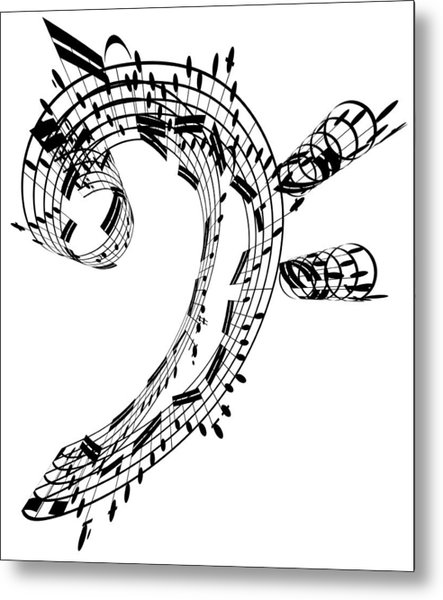Bass Clef Made Of Music Notes Metal Print by Ian Mckinnell
