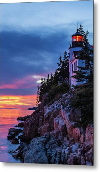 Bass Harbor Head Lighthouse At Twilight Metal Print