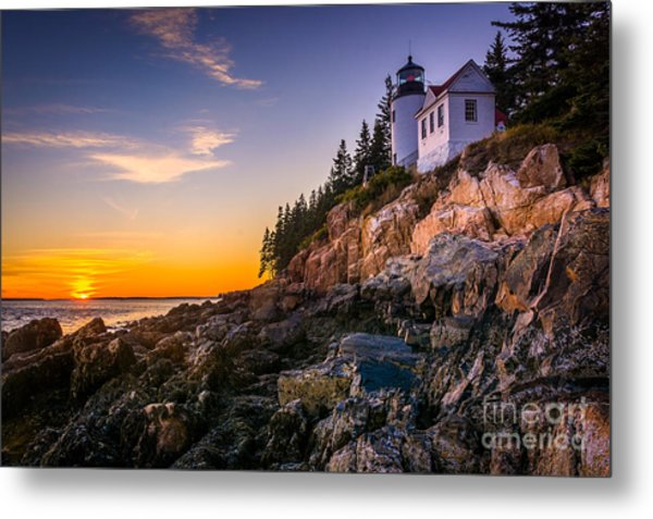 Bass Harbor Lighthouse At Sunset, In Metal Print