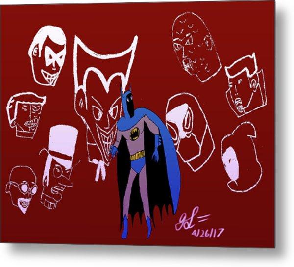 Batman's Rogues' Gallery Metal Print by John Lavernoich