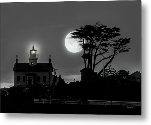 Battery Point Lighthouse In Moonlight Metal Print
