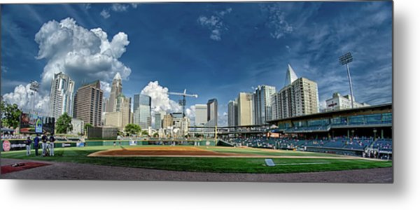 Metal Print featuring the photograph Bbt Baseball Charlotte Nc Knights Baseball Stadium And City Skyl by Alex Grichenko