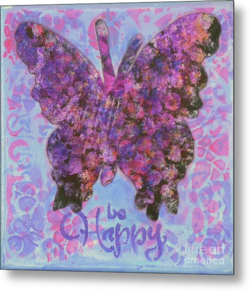 Be Happy 2 Butterfly Metal Print