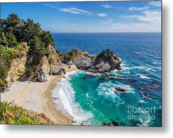 Beach And Falls, Julia Pfeiffer Beach Metal Print by Lucky-photographer
