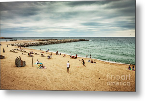 Beach And Sea During Cloudy Dark Summer Metal Print