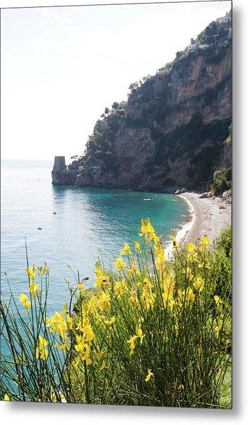 Beach And Turquoise Sea In Positano Metal Print