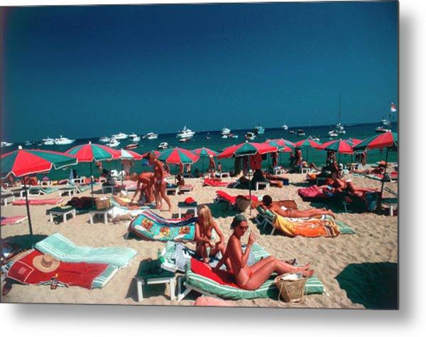 Beach At St. Tropez Metal Print