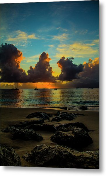 Beach At Sunset 2 Metal Print