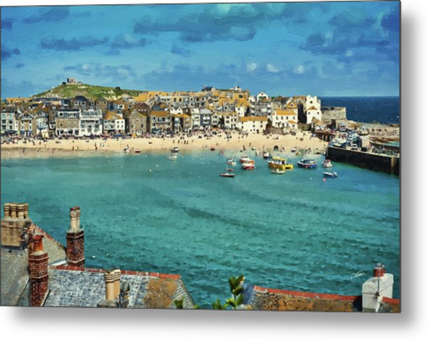 Beach From Across Bay St. Ives, Cornwall, England Metal Print
