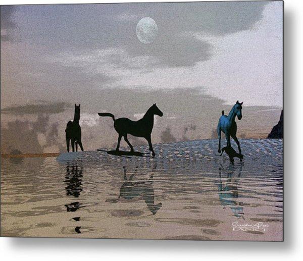 Beach Of Wild Horses Metal Print