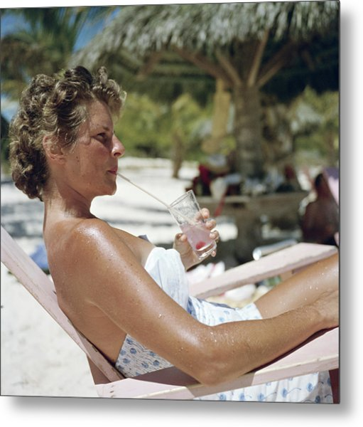Beach Refreshment Metal Print by Slim Aarons