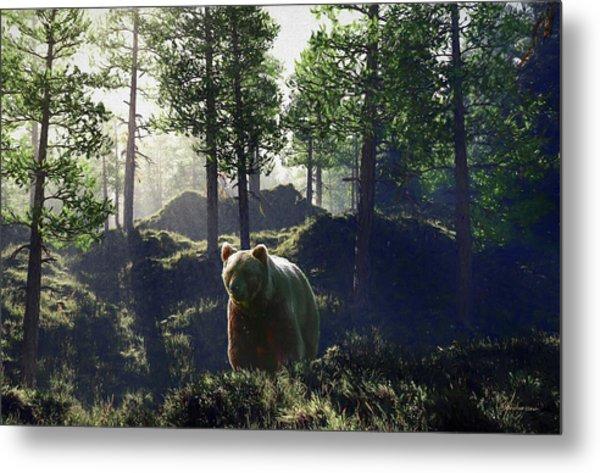 Bear In Forrest Metal Print