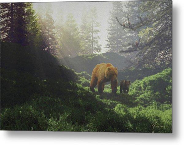 Bear Wwith Cub Metal Print