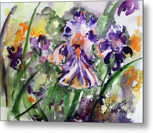 Metal Print featuring the painting Bearded Iris Splendor Watercolor by Ginette Callaway