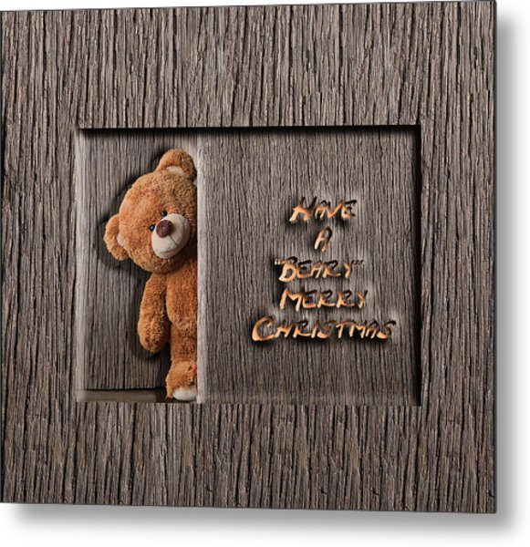 Beary Merry Christmas Metal Print