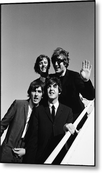 Beatles Arriving At Los Angeles Airport Metal Print by Bill Ray
