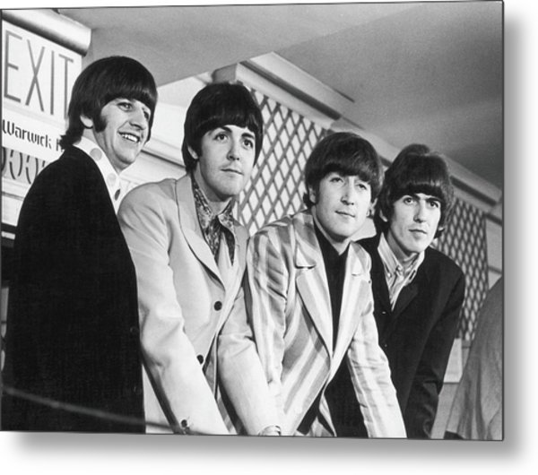 Beatles Press Conference Metal Print by Fred W. McDarrah