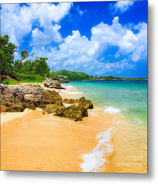 Beautiful Beach Surrounded By Mountains Metal Print