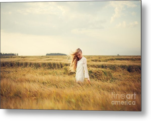 Beautiful Blonde Walks Into The Field Metal Print
