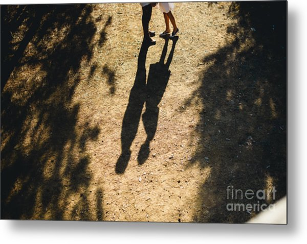 Beautiful Couple Walking In The Forest Metal Print