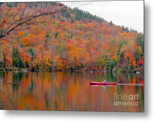 Beautiful Fall Landscape With  Lake And Metal Print