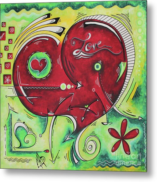 Beautiful Green And Red Heart Painting Infinite Love Pop Of Love Collection By Madart Metal Print