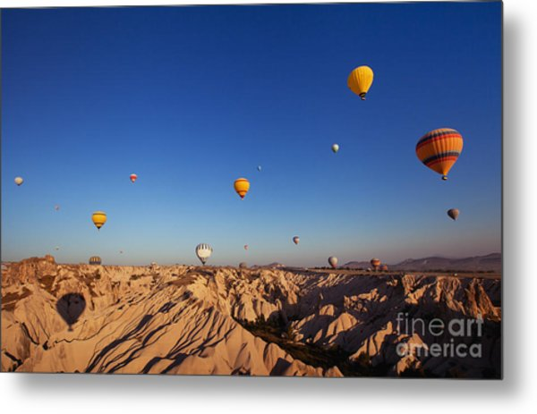 Beautiful Landscape With Hot Air Metal Print