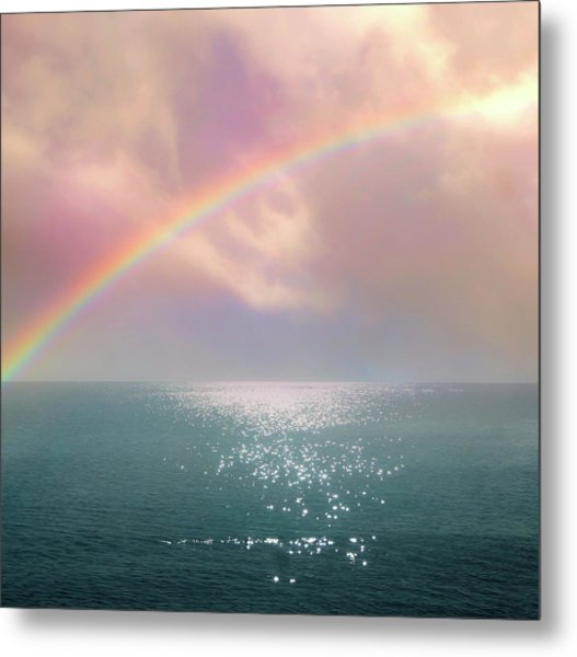 Beautiful Morning In Dreamland With Rainbow Metal Print