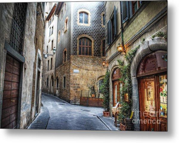 Beautiful Narrow Street In Florence Metal Print