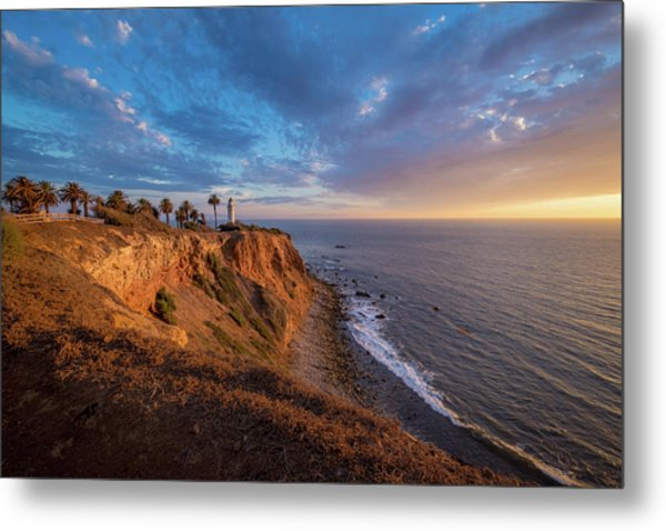 Beautiful Point Vicente Lighthouse At Sunset Metal Print