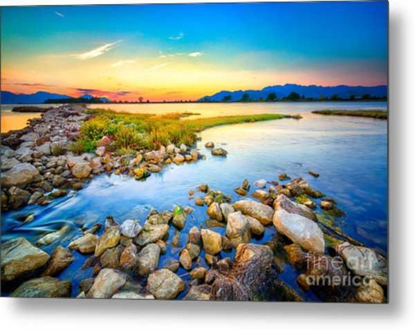 Beautiful Summer Sunset Over The Rocky Metal Print