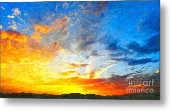 Beautiful Sunset In Landscape In Nature With Warm Sky, Digital A Metal Print